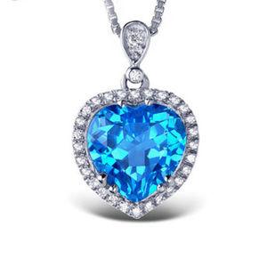 Art Deco Halo Heart of the Ocean Silver Pendant